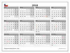Calendario 2018, con los días feriados para Chile. Calendario gratuito para imprimir.