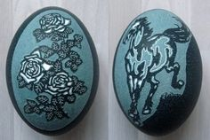 Carved Emu Egg - Knight and Love