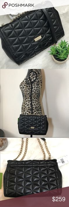 """♥️Kate Spade Emery Court Quilted Crossbody This is brand new with tags attached! Gorgeous quilted black leather with light gold chain strap that can be worn long for Crossbody or doubled up to wear on the shoulder. Emery court series emelyn. Has zipper pocket on inside, and a cellphone pocket. 14k plated name plate on flap. Measures 12""""W 7.5""""H 2.5"""" D.  Check the TOP of my closet for current promotions and SALES!!! kate spade Bags Crossbody Bags"""