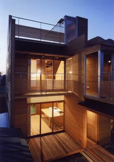 "Residential Architecture: House in Wakaura by Archivi Architects & Associates: ""..The wooden house is built around two small courtyard gardens..Materials include local cedar and cypress with internal surfaces made of plywood..""  Terraces, balconies, verandas, interior courtyards and interior gardens.."