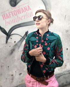 Bomberka haftowana - kwiaty w turkusie