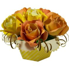 Bouquet (roses),Decorative,Paper Craft,Father's Day,yellow,Interior ,flower,rose,present
