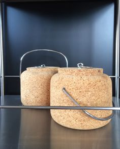 Vintage Boda Nova cork ice buckets by Signe Persson Melin, seeming ever so contemporary