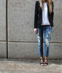 Zara Blazer   7 For All Mankind Boyfriend Jeans