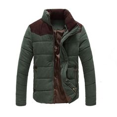 Men's High-Quality Down Color-Block Casual Winter Jacket Coat 3 Colors M-3XL