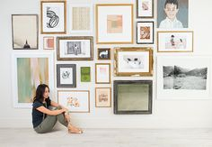Create Your Own Art Gallery Wall. Notice different painting and photos sizes, media, frames? Down to the floor and up to the ceiling. You have the spot.