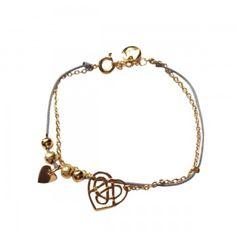 Bracelet chaîne et cordon Motif Cœoeur
