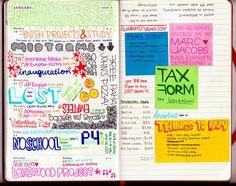 Illustrated notes/calendar/journal love.