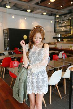 Embroidered Lace Sheer Dress
