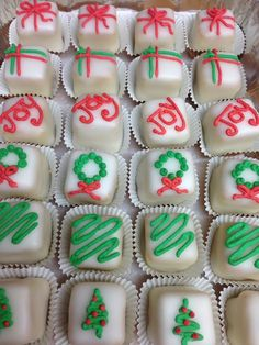 Christmas Petit Fours by Kay's Cupcakes Small Desserts, Mini Desserts, Holiday Desserts, Holiday Baking, Holiday Treats, Holiday Recipes, Christmas Tea, Christmas Cupcakes, Christmas Sweets