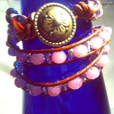 Triple wrap leather bracelet. Mauve/lavendar Mauve, lavendar and gold glass and acrylic beads. Can be worn as a bracelet, anklet or headband Jewelry Bracelets