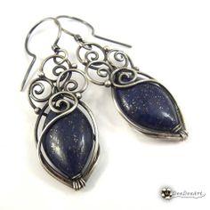 Nocny pejzaż - kolczyki - Biżuteria artystyczna, srebrne kolczyki z naturalnymi kamieniami, ze szkłem, na szydełku