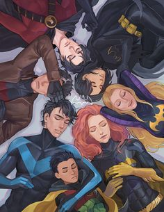 After saving all of Gotham, and being attacked by crazy villians who want to kill them, they all just decided to lie down and take a nap.