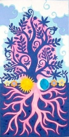 Tree of Life Art:: Jane Sassaman Quilt Fabric Art, Fabric Design, Tree Of Life Art, Spring Tree, Tree Quilt, Landscape Quilts, Contemporary Quilts, Blue Art, Applique Quilts