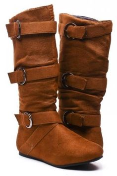 TAN FAUX SUEDE BUCKLE STRAPS FLAT MID-CALF BOOTS