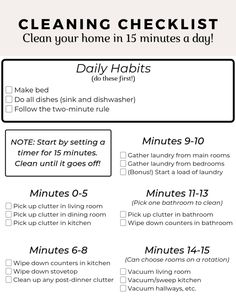 Quick and easy cleaning routine. This checklist will help you keep track of what you need to do each day to keep your home clean! Daily Cleaning Checklist, House Cleaning Tips, Cleaning Hacks, Life Skills Kids, Low Budget Decorating, Routine Printable, Blogger Home, Home Organization Hacks, Fall Diy