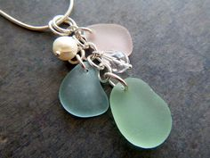 Aqua Sea Glass Necklace Pink Jewelry  Seaglass by TheMysticMermaid