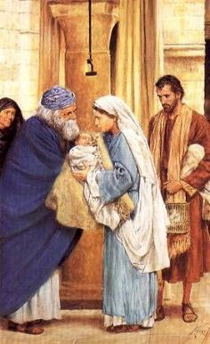 The presentation of Jesus in the temple to Simeon ( whose name means God receiver) Religious Photos, Religious Art, Catholic Saints, Catholic Art, 7 Sorrows Of Mary, Rosary Mysteries, Jesus In The Temple, Arte Judaica, Pictures Of Jesus Christ