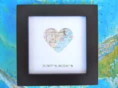 Framed Map with GPS Coordinates - Customized Map Gift - Map Coordinates - Heart Shaped Map - Latitude Longitude - Gallery Wall Map Art