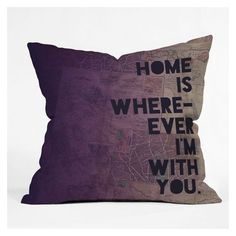 Leah Flores With You Throw Pillow ❤ liked on Polyvore featuring home, home decor, throw pillows and map throw pillow