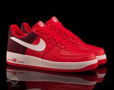 Кроссовки Nike Air Force 1 Low (красный/бордовый/белый)