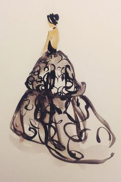 What Your Favorite Met Dresses Look Like As Art #refinery29  http://www.refinery29.com/2014/05/67482/met-gala-sketches#slide13  Zoe Saldana is the only person on Earth who can make the baggy shape of this Michael Kors gown work in her favor.