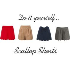 No sew, #DIY Scallop Shorts!!    Here's what you will need:    High wasted pants or long shorts  Scissors (fabric scissors would work best)  Washable Marker  Tape measure  Fray Check   Step One:     Trim the length of the pants/shorts. You may need to do this a couple of times… I'd suggest trying them on after each time to see how the length feels. Be sure to save room for the scallops because they will shorten the length a bit!    Step Two:    Trace your scallops (or semi-circles) across…