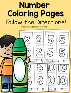 Free Number Coloring Pages Numbers Preschool, Preschool Math, Kindergarten Math, Maths, Kids Learning Activities, Learning Letters, Number Activities, Counting Activities, Number Worksheets