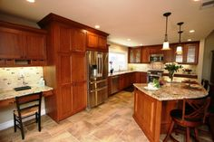 Kitchen, light cherry cabinets, travertine floors | design of Cherry Cabinets with brown wooden kitchen cabinet ...