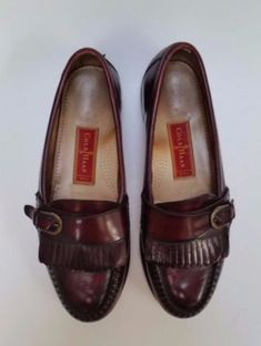 Cole Haan Shoes Loafers Buckle Flap Slip-On Burgundy Mens Size 8.5 D