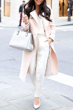 Light pink coat and cream trousers//
