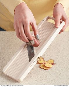 Protect Your Fingers... When using a mandoline to slice foods that are too small to fit into the safety hand guard — such as fingerling potatoes — put metal thimbles on your fingers to keep them out of harm's way and to firmly grip the food.