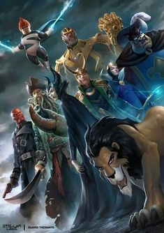 Villains Unite - Syndrome (The Incredibles), Red Skull (Marvel), Davy Jones (Pirates of the Caribbean), Maleficent (Sleeping Beauty), Loki (Marvel), Captain Pete (Mickey - Donald - Goofy: The Three Musketeers), Thanos (Marvel), Scar (The Lion King)