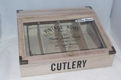 Shabby & Chic Wooden Cutlery Box Storage Glass Front Box Ex Large lp744