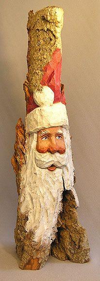 Santa Face on Large Standing Cottonwood Bark