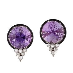 Art Deco Amethyst, Diamond, Enamel and Platinum Earrings | From a unique collection of vintage clip-on earrings at https://www.1stdibs.com/jewelry/earrings/clip-on-earrings/