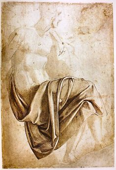 """'Drapery Study for the Erythraean Sibyl for the Sistine Ceiling (recto); Figure study (verso)' by Michelangelo, depicting a seated figure with fabric draped over its lap. Seen at The Met, """"Michelangelo: Divine Draftsman and Designer,"""" Drapery Drawing, Fabric Drawing, Painting & Drawing, Michelangelo, Life Drawing, Figure Drawing, Drawing Studies, Art Graphique, Old Master"""