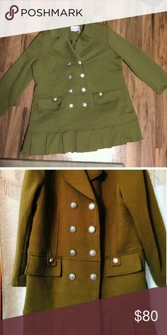 Roamans 22W Olive Green Military Coat New, never worn, perfect condition. Runs pretty true to size, a little on the big side, and has some stretch to it. Fully lined, silver button details, 2 functional pockets. Shell is 60% cotton, 40% polyester, lining is 100% polyester. Roaman's Jackets & Coats Pea Coats