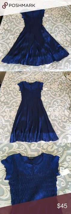 Deep Blue Pleated Satin Dress NWT beautiful satin dress with round neck Dresses Midi