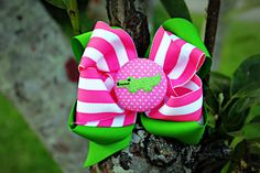 Sale  Cute pink and green alligator bow by charminglanedesigns, $9.50