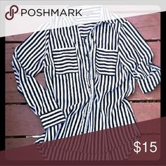 Black and white striped button-up High-low style lightweight button-up blouse.  Long sleeves that can be rolled and buttoned up. Worn once for an interview.. And I got the job!  Cute with leggings or dressed up with a suit. My Michelle Tops Blouses