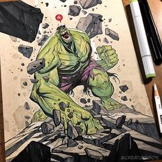 Day 1 of @heroesonline #heroescon was a SMASH! Join us at tables AA-1004&1005 for books, prints & art! #hulk #smash #marvel #commission