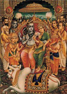 Karttikeya - Shiva - Parvati - Ganesh - Nandi. Via Visionaire.org