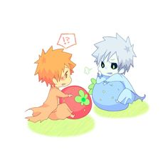 Orihime and Ichigo chibi. This is so cute I could die ...