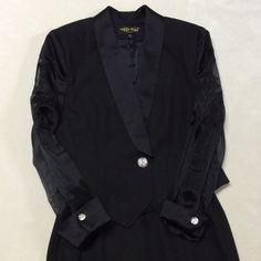🎉 SALE 🎉 After 5 skirt suit Gorgeous after 5 skirt suit! Jacket has rhinestone button and rhinestone buttons on sleeves also. Sleeves are sheer. Made in NY. Skirt has slit in front of left thigh. Very sexy and beautiful!! Skirt zips up the back and has elastic on sides for a little extra stretch. High Point NY Skirts Skirt Sets