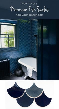 How to use Moroccan Fish Scales for your bathroom! Read about it on the blog to see which colors you love best, and the best ways to use these unique, handmade tiles! #mercurymosaics