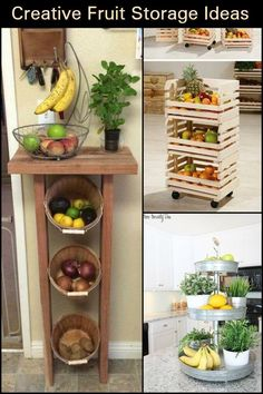 Fruit Storage Ideas Fantastic Storage Ideas to Keep Your Fruits Fresh and Your Kitchen Looking Neat!Fantastic Storage Ideas to Keep Your Fruits Fresh and Your Kitchen Looking Neat! Diy Kitchen Storage, Home Decor Kitchen, New Kitchen, Home Kitchens, Diy Home Decor, Kitchen Organization, Kitchen Ideas, Organization Ideas, Creative Storage