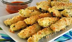 Crispy, oven-baked Zucchini Sticks coated in Parmesan and bread crumb mixture - perfect and healthy appetizer or snack. They are a great way to get your kids eat veggies. Healthy Food Blogs, Good Healthy Recipes, Vegetarian Recipes, Healthy Eating, Greek Recipes, Whole Food Recipes, Cooking Recipes, Cooking Food, Baked Zucchini Sticks