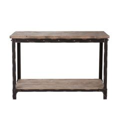 angelo:HOME Bowery Console Table by angelo:HOME. $254.99. Rustic plank style top and shelf. Hand rubbed metal finish. Designed by Angelo Surmelis. Hand rubbed metal finish will patina and the wood will age, constructed of fir wood and distressed metal, assembly required. Storage shelf area under table top measures 40-1/4-inch w by 14-inch d by 22-inch h, area under storage shelf measures 40-1/4-inch w by 14-inch d by 3-3/4-inch h. Distressed metal and rivet detail; Hand rubbed me...