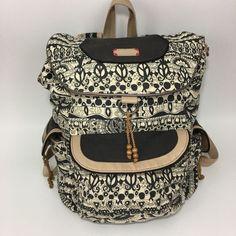 b13cff99297b Sakroots Artist Circle Flap Backpack One World Black White Book Bag